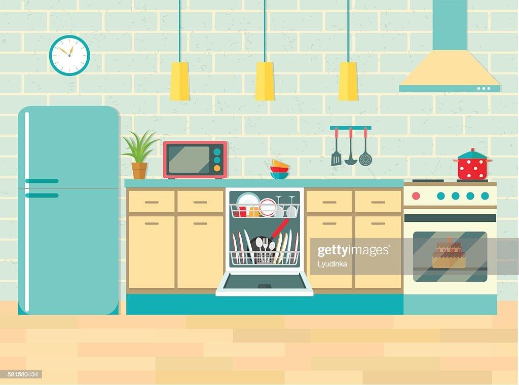 Kitchen retro interior . Vector flat illustration.