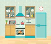 Kitchen retro interior . Vector flat illustration.