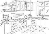 Kitchen room graphic black white interior sketch illustration vector