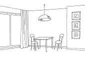 Kitchen room interior graphic black white sketch illustration vector