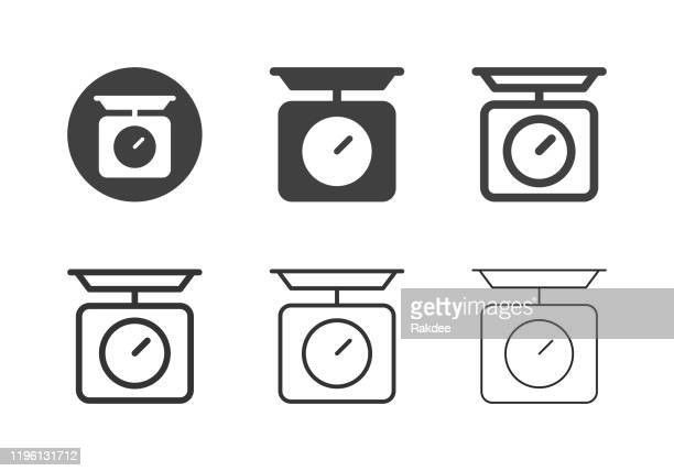 kitchen scale icons - multi series - scales stock illustrations