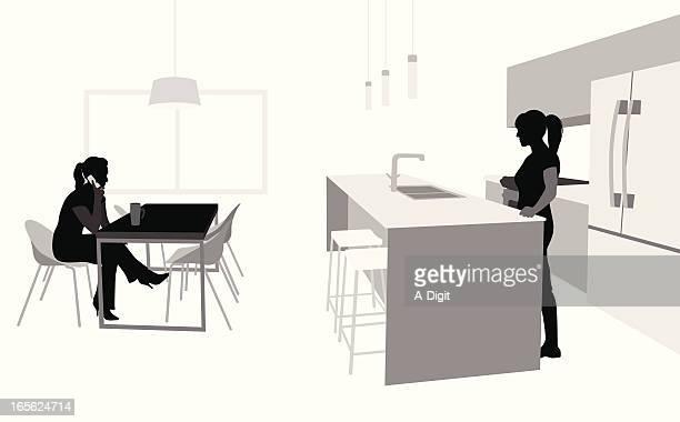 Kitchen Scene Vector Silhouette