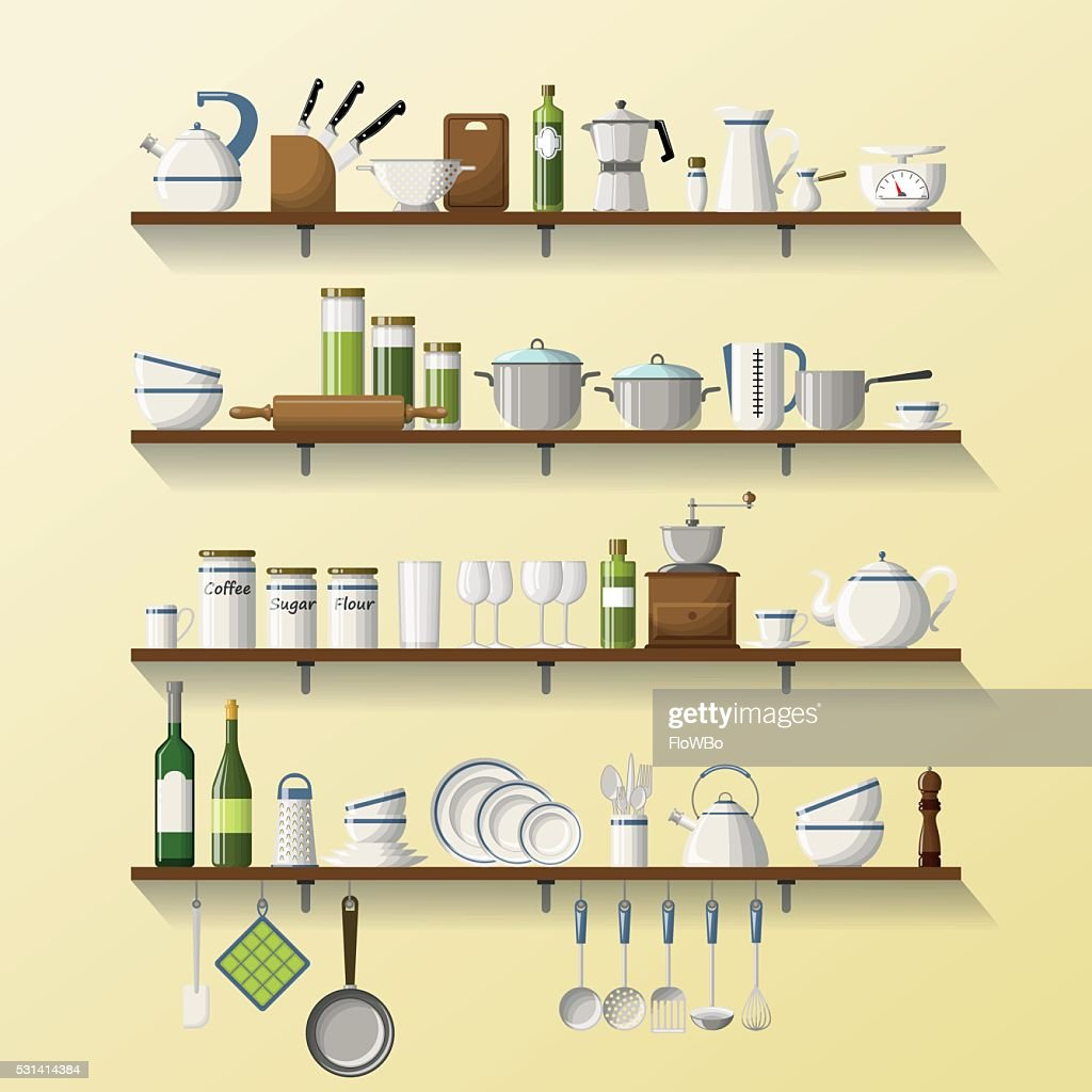 Kitchen shelves with dishes and pots
