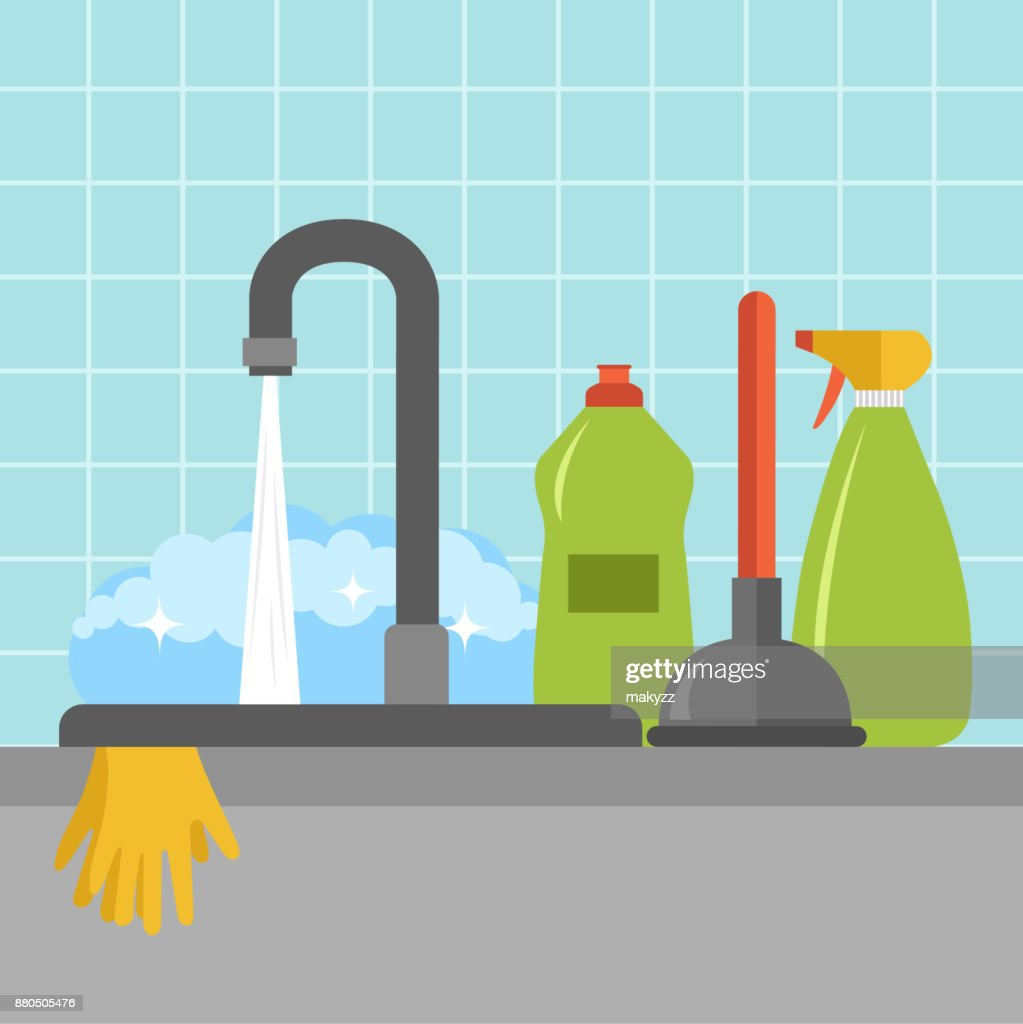 Kitchen Sink Icon Flat Vector Illustration Vector Art | Getty Images