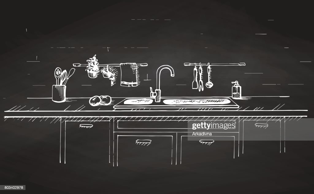Kitchen sink. Kitchen worktop with sink and drawn on a chalkboard.. The sketch of the kitchen