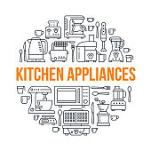 Kitchen small appliances equipment banner illustration. Vector line icon of household cooking tools - blender, mixer, food processor, coffee machine, microwave, toaster. Electronics circle template