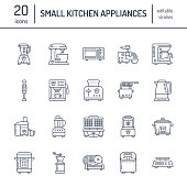 Kitchen small appliances line icons. Household cooking tools signs. Food preparation equipment - blender, coffee machine, microwave, toaster, meat grinder. Thin linear signs for electronics store