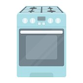 Kitchen stove icon in cartoon style isolated on white background. Household appliance symbol stock vector illustration.