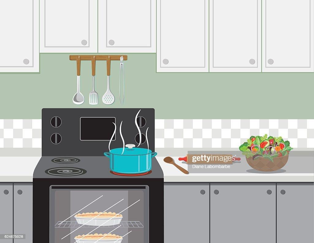 スープクッキングの鍋とキッチンストーブ : ストックイラストレーション
