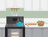Kitchen Stove With A Pot Of Soup Cooking