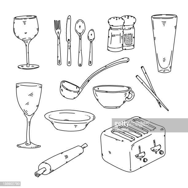 kitchen stuff - chopsticks stock illustrations, clip art, cartoons, & icons