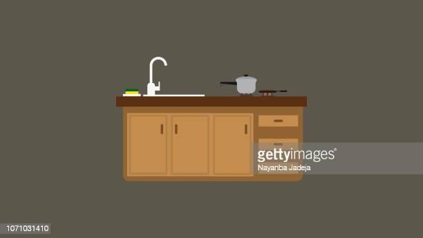 ガスコンロとキッチン テーブル - キッチン点のイラスト素材/クリップアート素材/マンガ素材/アイコン素材