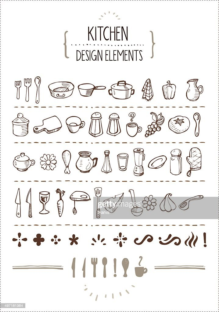 Kitchen Themed Doodles for Designers