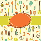 Kitchen themed wallpaper with utensils