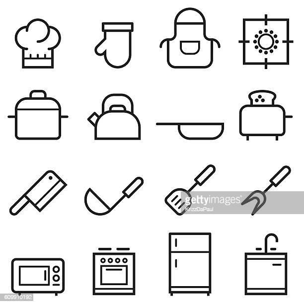 kitchen thin line icons - stew pot stock illustrations