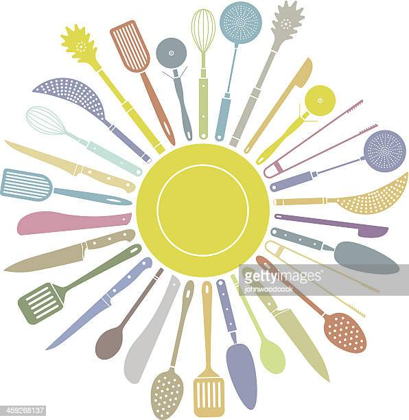 kitchen tool circle - cooking utensil stock illustrations, clip art, cartoons, & icons