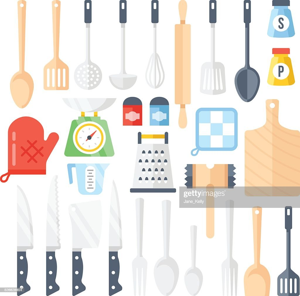 Kitchen tools, cooking equipment, kitchen utensils set. Flat icons set