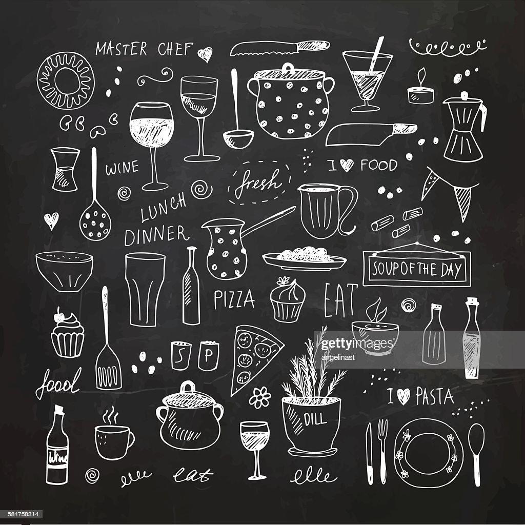 Kitchen tools doodle set. Hand drawn vector Illustration