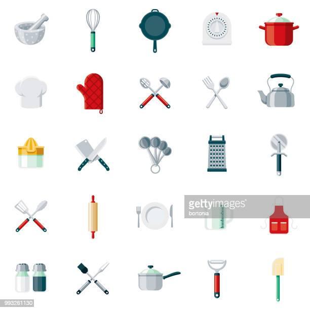 illustrations, cliparts, dessins animés et icônes de outils de cuisine design plat icon set - horizontal