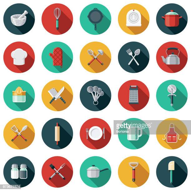 ilustrações de stock, clip art, desenhos animados e ícones de kitchen tools flat design icon set with side shadow - batedor de ovos manual