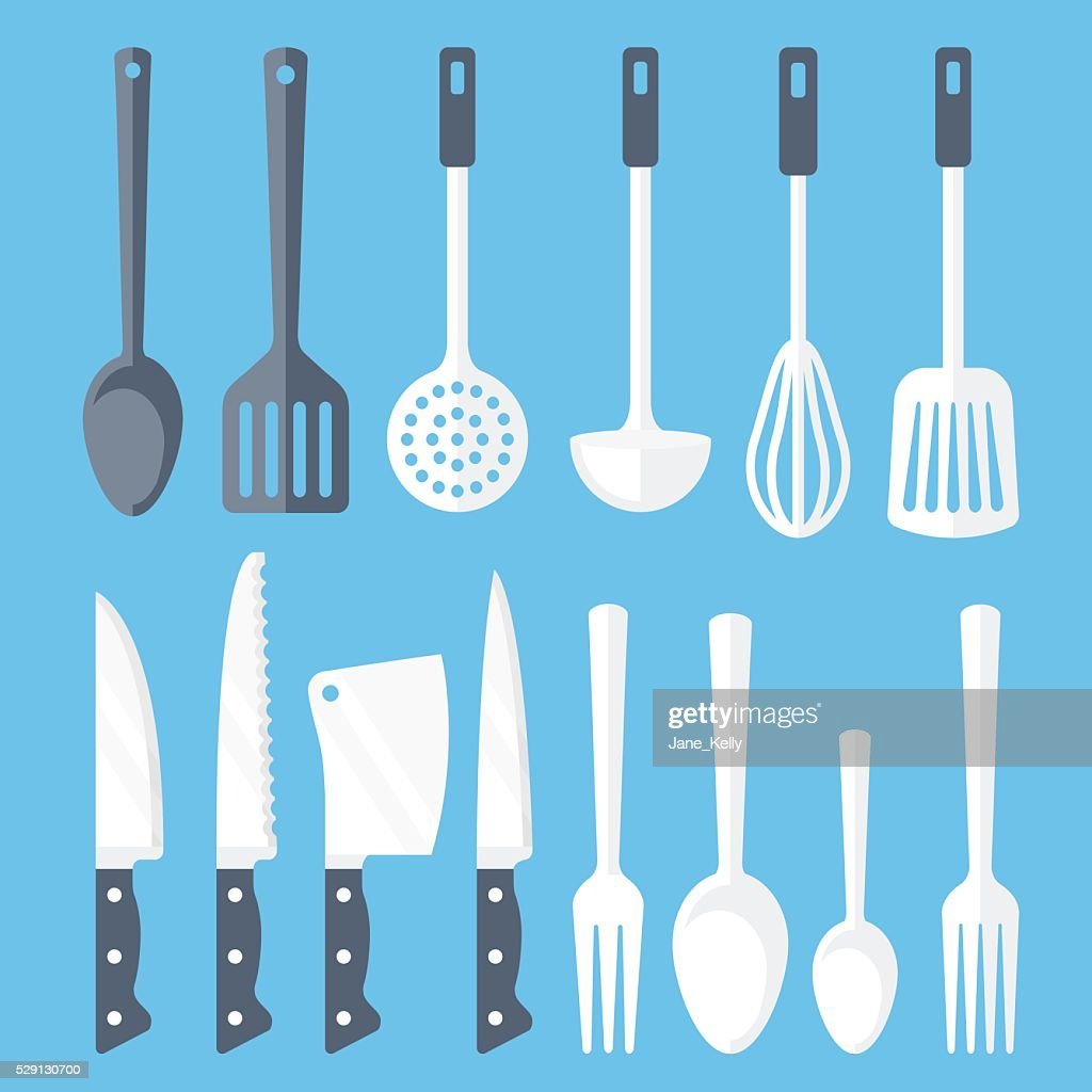 Kitchen tools flat icons set. Vector illustration
