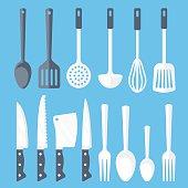 Kitchen tools flat icons set. Vector illustration