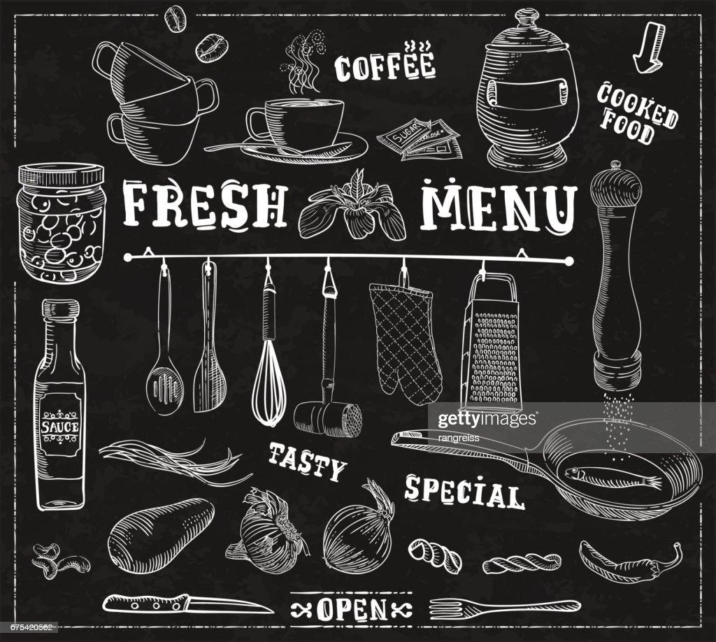 Kuchengerate Lebensmittel Zutaten Hintergrund Mit Beschriftungen Fur