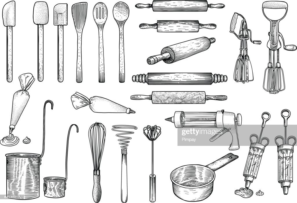 Kitchen, tools illustration, utensil, vector, drawing, engraving, cook, cooking, patisserie,