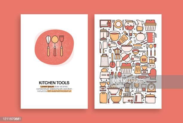 キッチンツール関連デザイン。パンフレット、表紙、チラシ、年次報告書のための最新のベクトルテンプレート。 - エプロン点のイラスト素材/クリップアート素材/マンガ素材/アイコン素材
