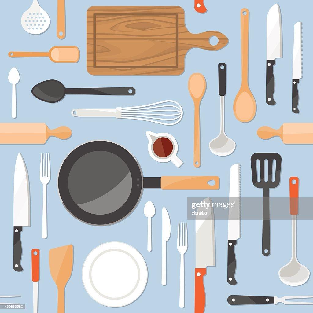 Kitchen tools seamless pattern