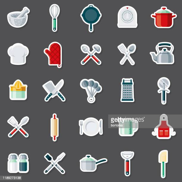kitchen tools sticker set - measuring cup stock illustrations