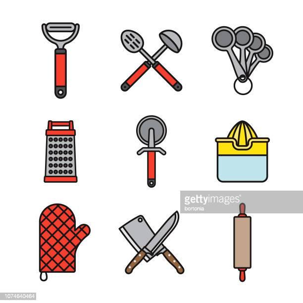 stockillustraties, clipart, cartoons en iconen met keuken hulpmiddelen dunne lijn icon set - dunschiller