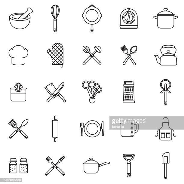 ilustrações de stock, clip art, desenhos animados e ícones de kitchen tools thin line outline icon set - batedor de ovos manual