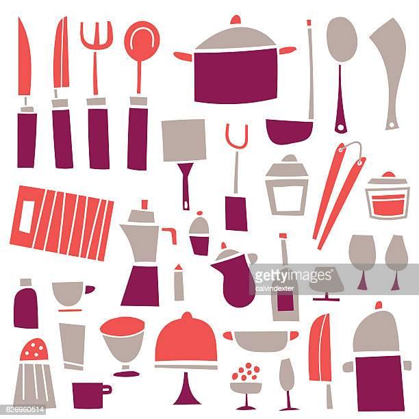 kitchen tools - kitchenware department stock illustrations, clip art, cartoons, & icons