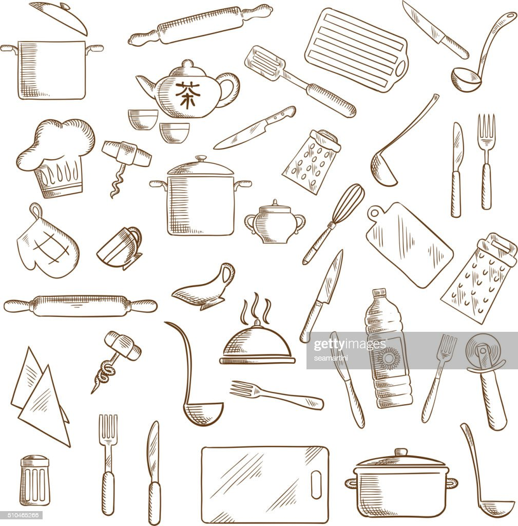 Kitchen utensil and kitchenware icons
