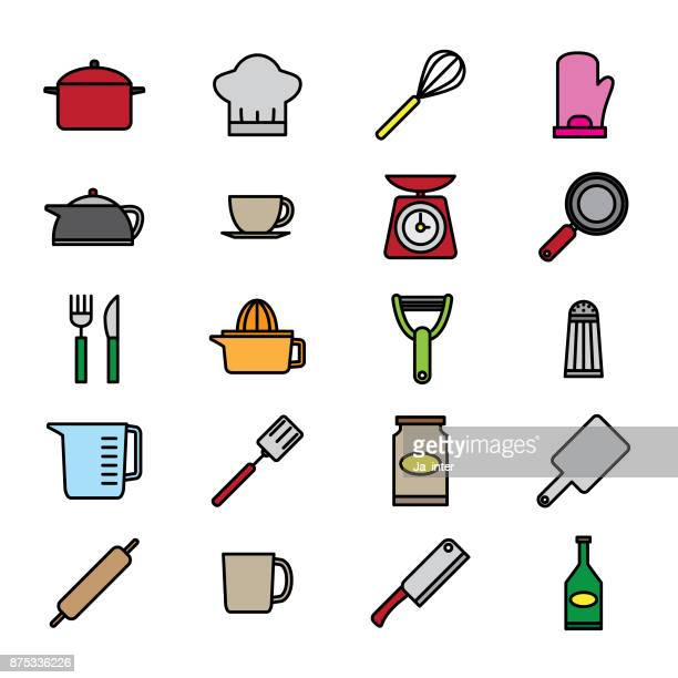 kitchen utensil color icon - kitchen scale stock illustrations, clip art, cartoons, & icons