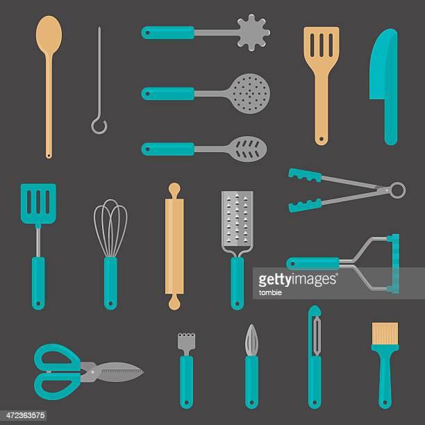 kitchen utensil flat icons - cooking utensil stock illustrations, clip art, cartoons, & icons
