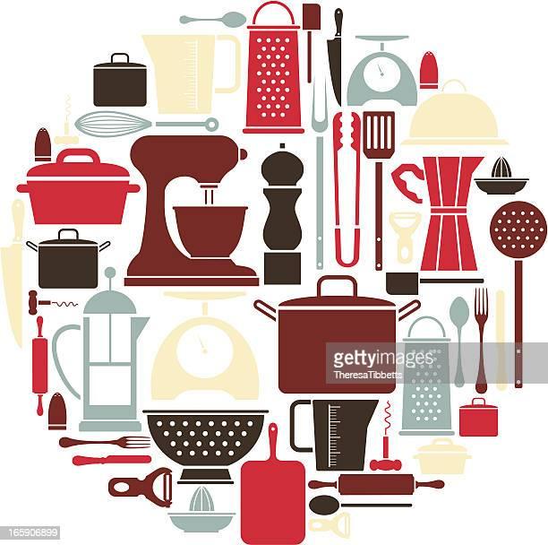 kitchen utensil icon set - kitchenware department stock illustrations, clip art, cartoons, & icons