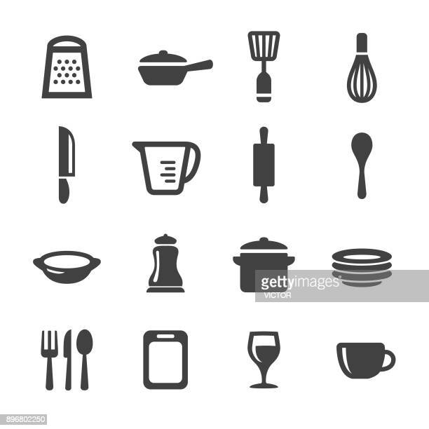 kitchen utensil icons - acme series - measuring cup stock illustrations