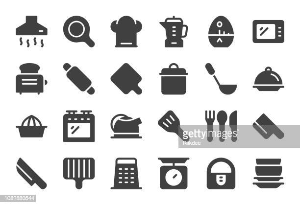 kitchen utensil icons - gray series - exhaust fan stock illustrations, clip art, cartoons, & icons