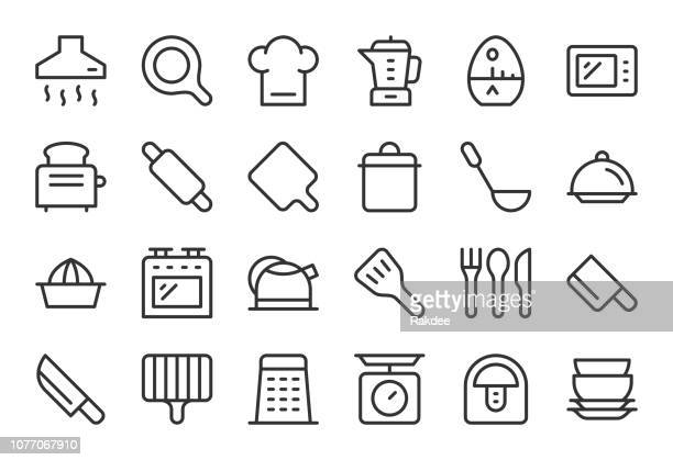 kitchen utensil icons - light line series - exhaust fan stock illustrations, clip art, cartoons, & icons