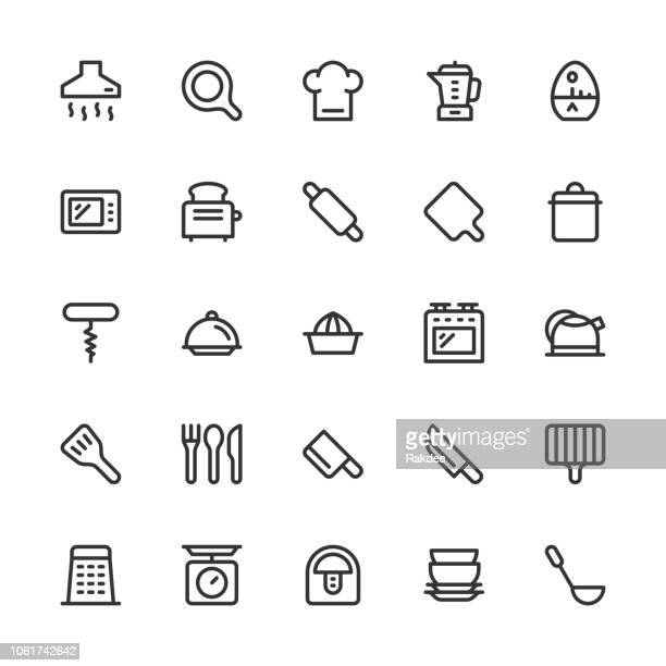 kitchen utensil icons - line series - exhaust fan stock illustrations, clip art, cartoons, & icons
