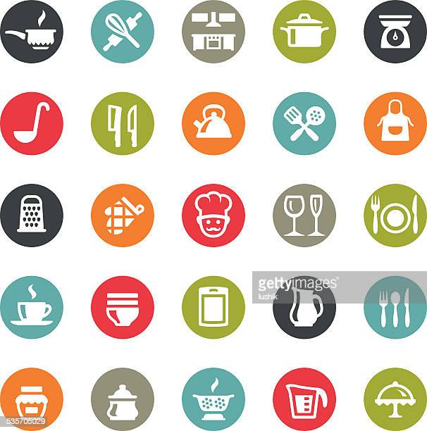 kitchen utensil icons / ringico series - kitchen scale stock illustrations, clip art, cartoons, & icons