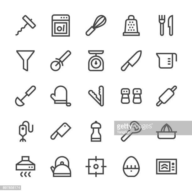 kitchen utensil icons set1 - mediumx line - kitchen scale stock illustrations, clip art, cartoons, & icons