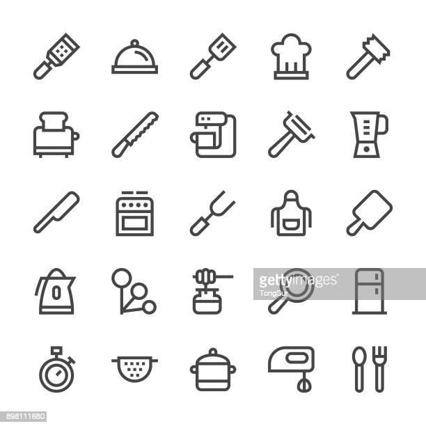 kitchen utensil icons set2 - mediumx line - egg beater stock illustrations, clip art, cartoons, & icons