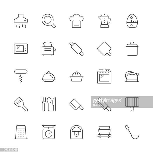 kitchen utensil icons - thin line series - exhaust fan stock illustrations, clip art, cartoons, & icons