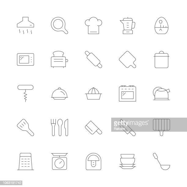 kitchen utensil icons - ultra thin line series - exhaust fan stock illustrations, clip art, cartoons, & icons