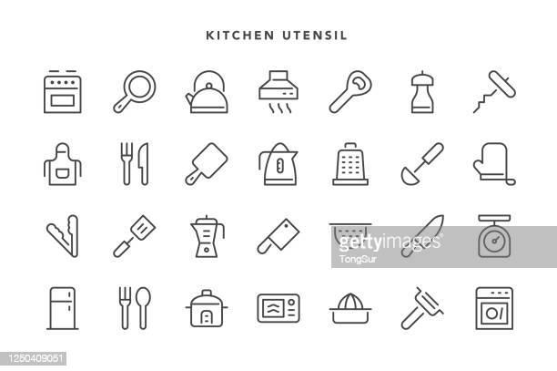 stockillustraties, clipart, cartoons en iconen met keukengerei pictogrammen - dunschiller