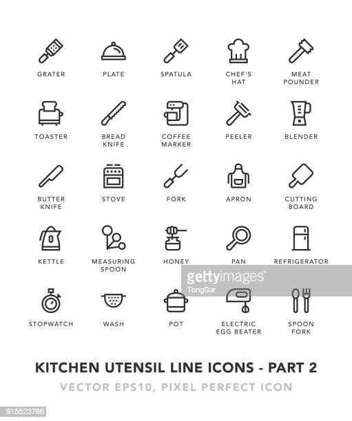 kitchen utensil line icons - part 2 - baked stock illustrations, clip art, cartoons, & icons