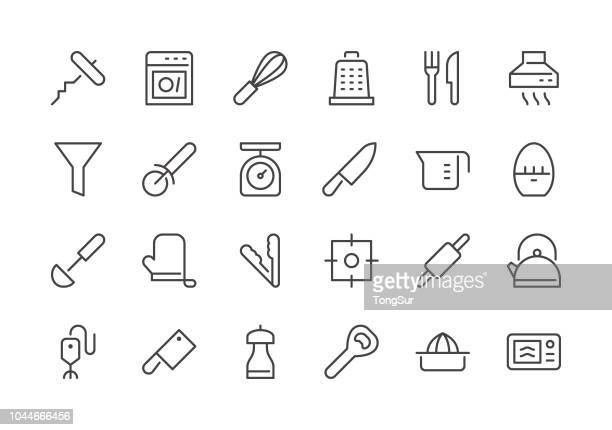 kitchen utensil - part 1 - regular line icons - kitchen scale stock illustrations, clip art, cartoons, & icons